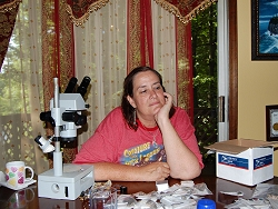 Anita examining some of Michael Bloods meteorites, and dreaming of tektites