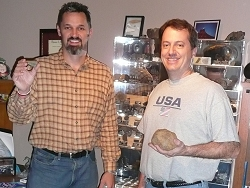 Dave Gheesling and David Hardy with the Statesboro meteorite
