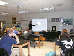 Dave Gheesling doing a little class outreach in Feb, 2009